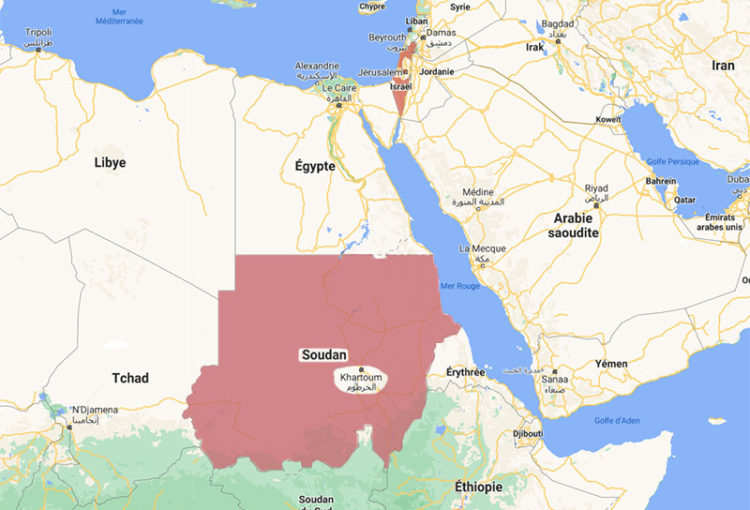 Carte du Moyen-Orient et de l'Afrique de l'Est- Liaison Soudan-Israël