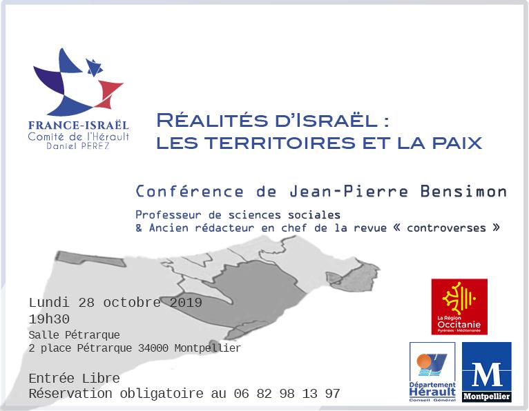 """Conférence """"Réalités d'Israël : les territoires de la paix"""" de Jean-Pierre Bensimon, 28 octobre 2019, Marseille"""
