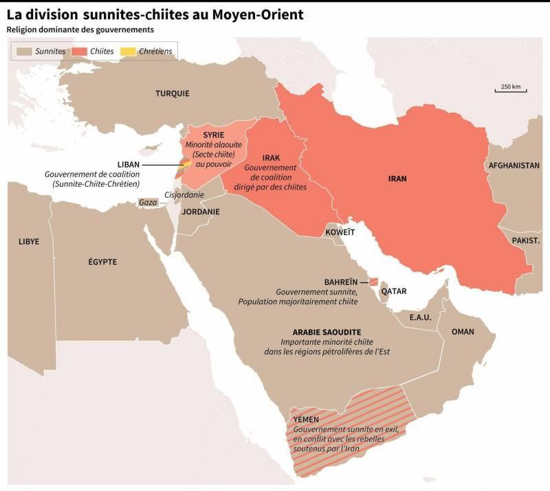 Le croissant chiite au Moyen-Orient en 2019
