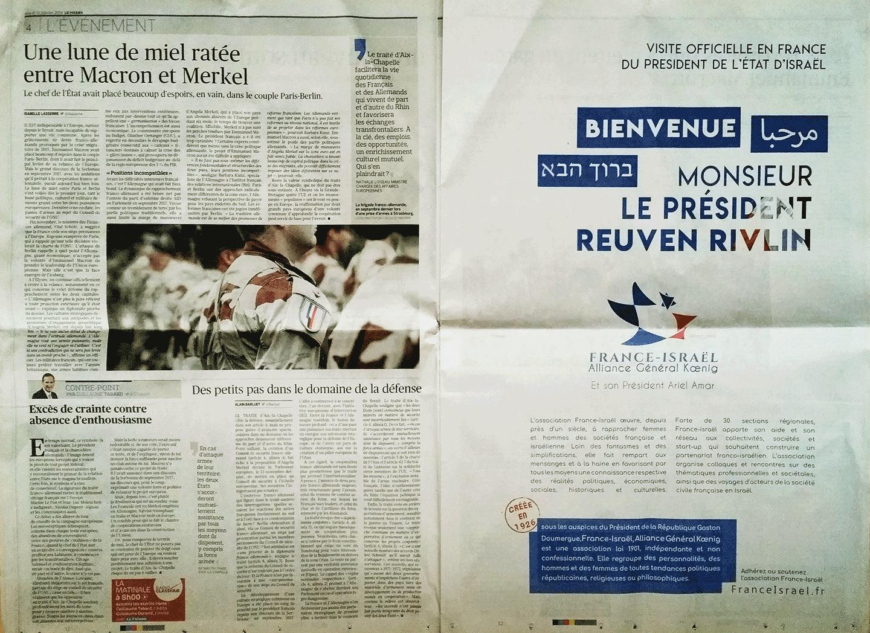 Page dans le Figaro du 22 janvier 2019