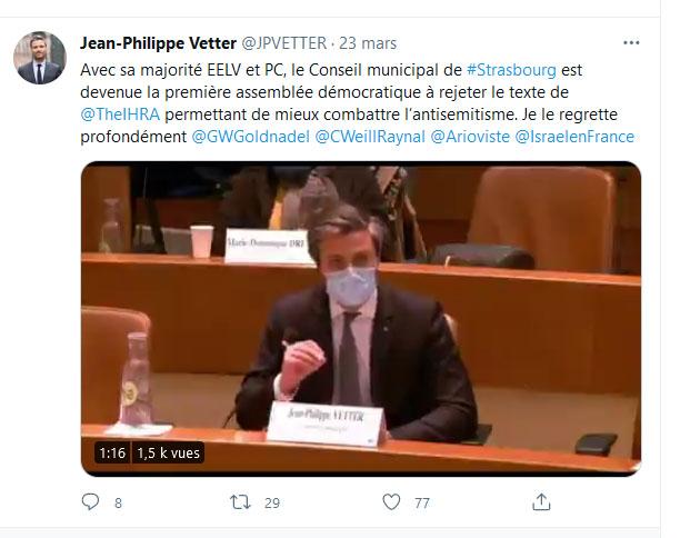 Tweet de Jean-Philippe Vetter 23 mars 2021