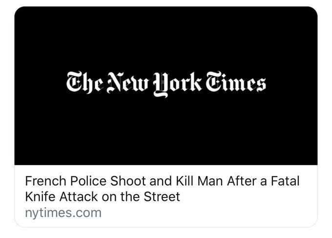 Titre du New York Times après le meurtre de Sameul Paty et la neutralisation du terroriste par la police française