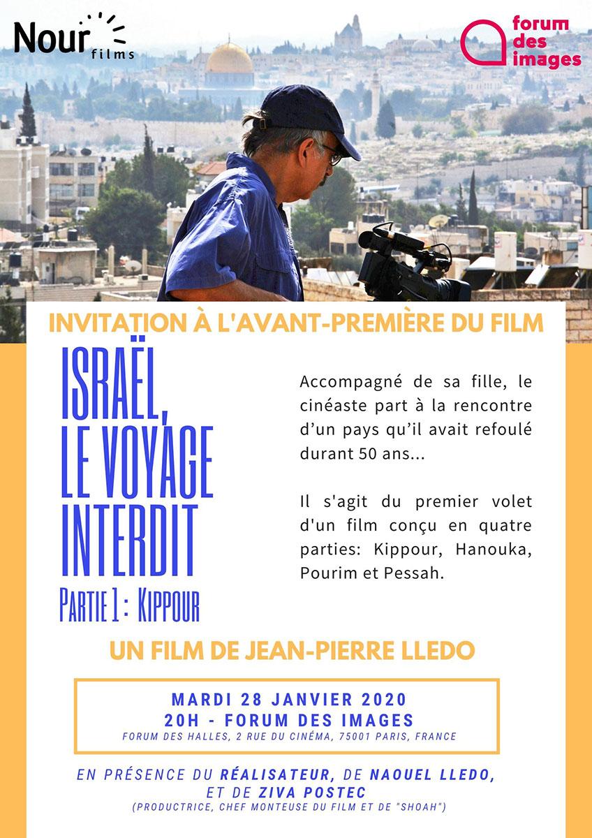 Israël le voyage interdit flyer avant-première 28 janvier 2020