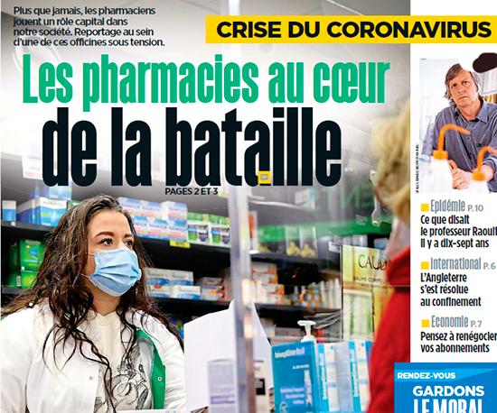 Une du Parisien du 1er avril 2020 : Crise du coronavirus, Les pharmaciens au coeur de la bataille