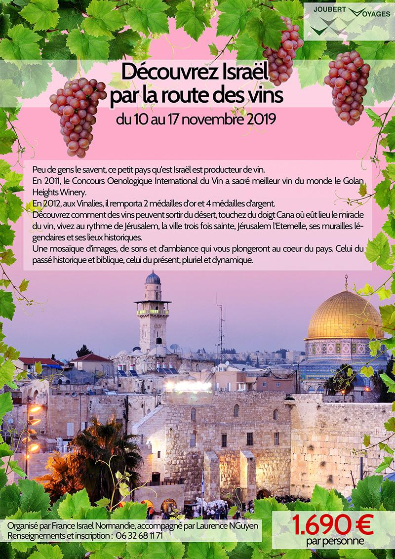 Flyer voyage Israël route des vins novembre 2019