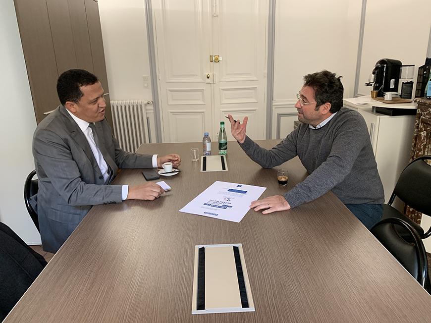 Hassen Chalghoumi, Imam de Drancy, et Ariel Amar, Président de France-Israël, Alliance Général Kœnig, en train de préparer un voyage en Israël – 21 janvier 2019