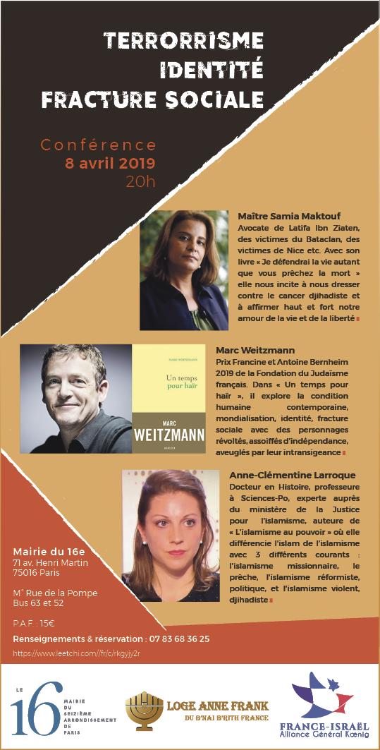 Terrorisme Identite Fracture sociale conference Samia Maktouf Marc Weizmann Anne-Clémentine Larroque