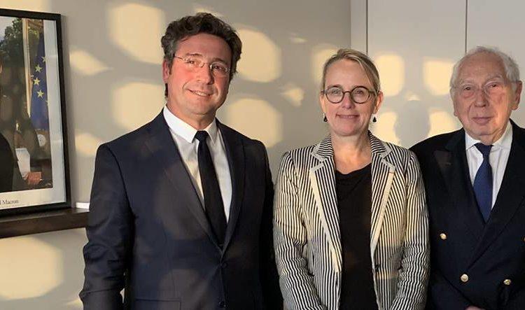 Rencontre le 27 février 2019 à l'Ambassade de France en Israël. Ariel Amar (président de France-Israël), Hélène Le Gal (ambassadrice de France en Israël), Charles Meyer (vice-président de France-Israël)