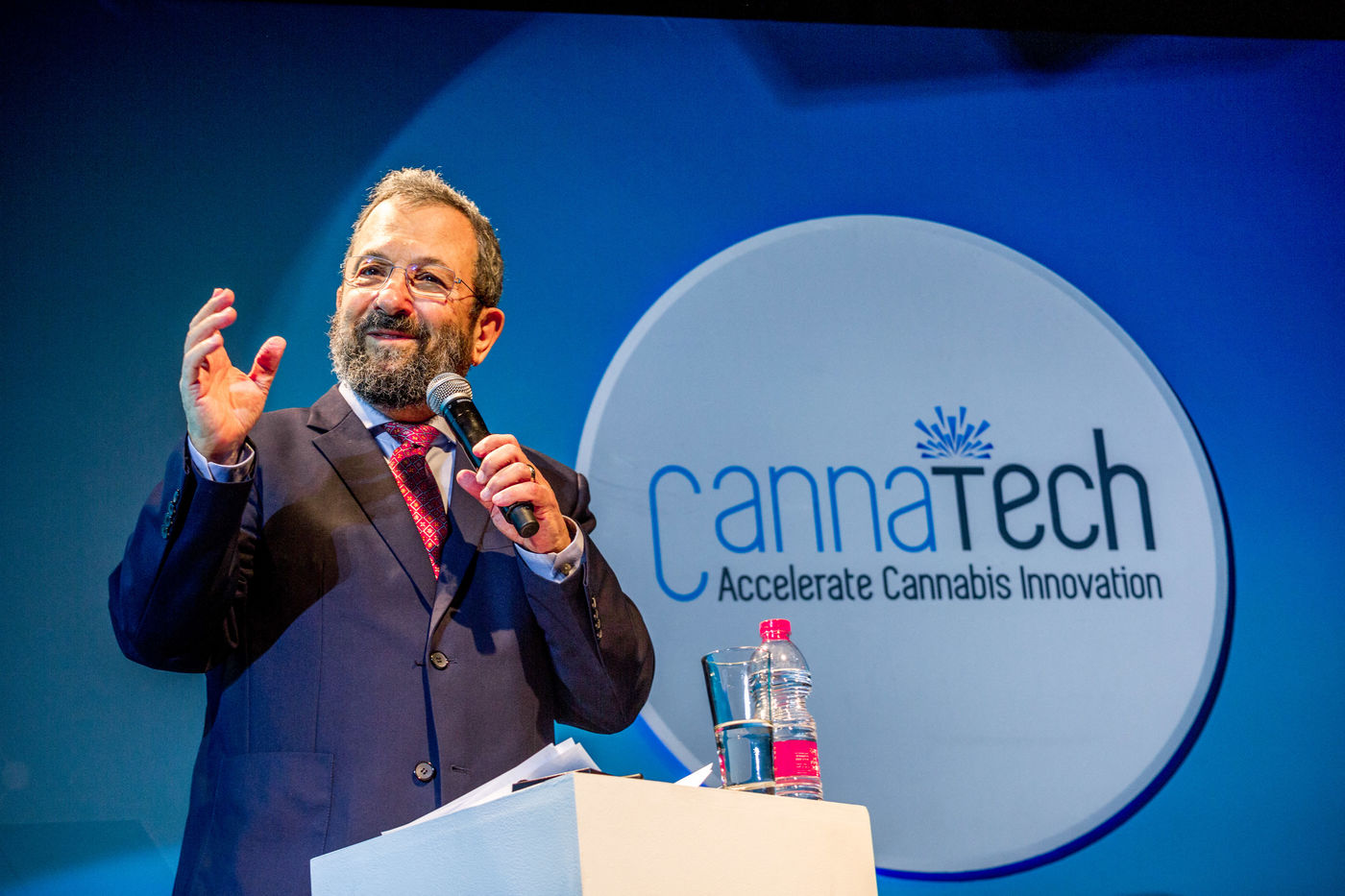 L'ancien premier ministre Ehud Barak lors du salon Cannatech 2019 (avril 2019, Tel-Aviv, Israël). Photo : Hanslucas.com