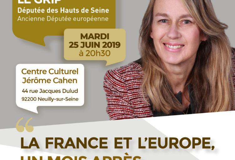 Flyer de la conférence de Constance Le Grip, 25 juin 2019