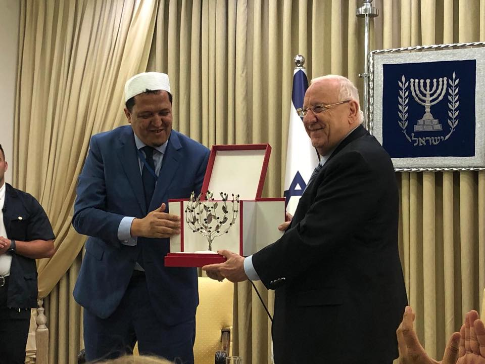 Juin 2019, rencontre de l'imam Hassen Chalghoumi avec le président d'Israël, Reuven Rivlin. Israël, juin 2019