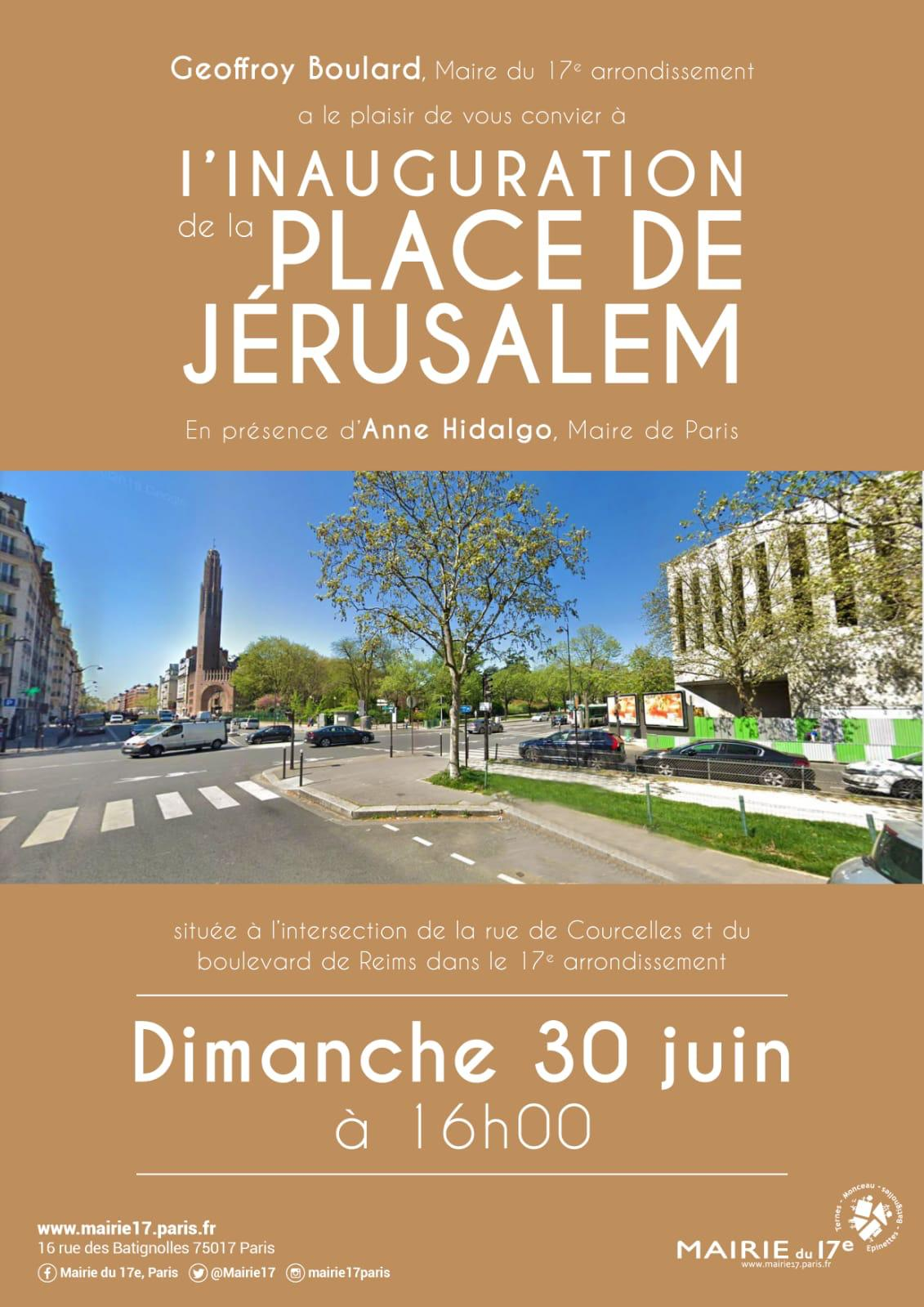 Flyer de l'inauguration de la place de Jérusalem à Paris le 30 juin 2019
