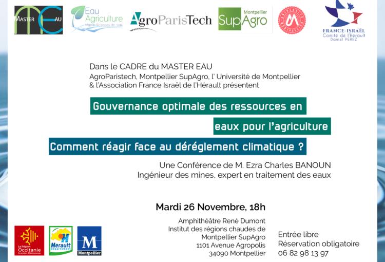Gouvernance des ressources en eaux pour l'agriculture - Comment réagir face au dérèglement climatique ?