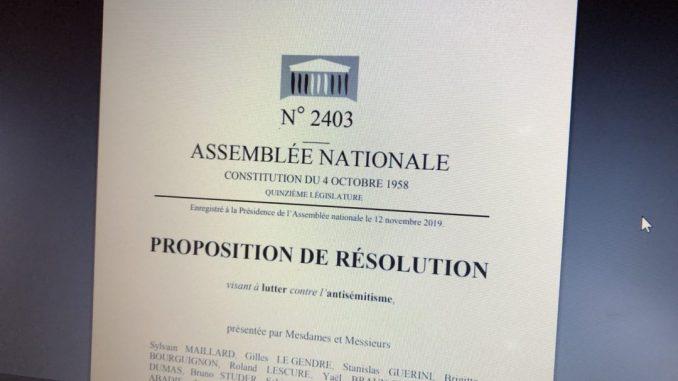 Proposition de résolution à l'Assemblée nationale pour lutter contre l'antisémitisme, décembre 2019