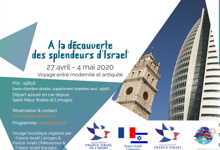 Flyer voyage en Israël organisé par France-Israël Bourges Limoges et Châteauroux