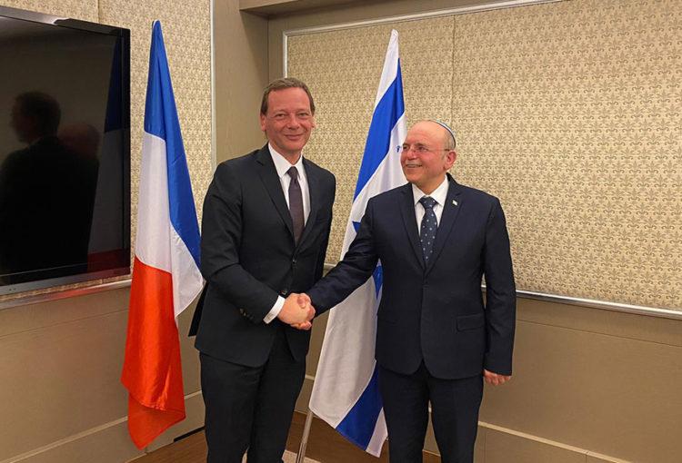 Rencontre entre Emmanuel Bonne, Conseiller diplomatique à l'Elysée, et Meir Ben Shabbat, Conseiller à la Sécurité nationale en Israël. Jérusalem, 22 janvier 2020
