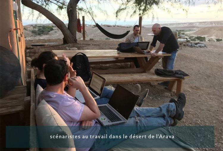 Scénaristes français et israéliens au travail dans le désert de l'Arava, décembre 2019 - Crédits : Nathan Cahn / Ambassade de France en Israël 2019