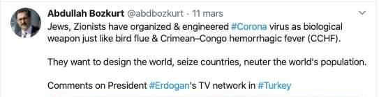 Tweet antisémite d'Abdullah Bozkurt