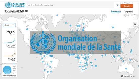 Tableau de bord de l'écolution du Coronavirus dans le monde (OMS)