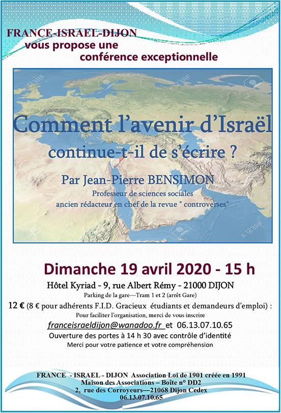 Flyer Conférence Dijon Comment l'avenir d'Israël s'écrit-il