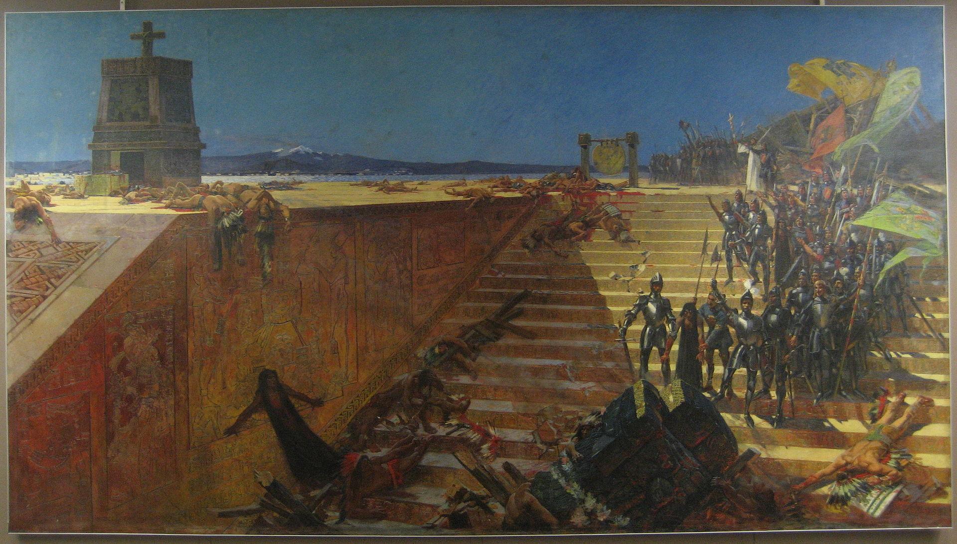 Derniers jours de Tenochtitlan, Conquete du Mexique par Cortez- Peinture de William de Leftwich Dodge, 19e siecle