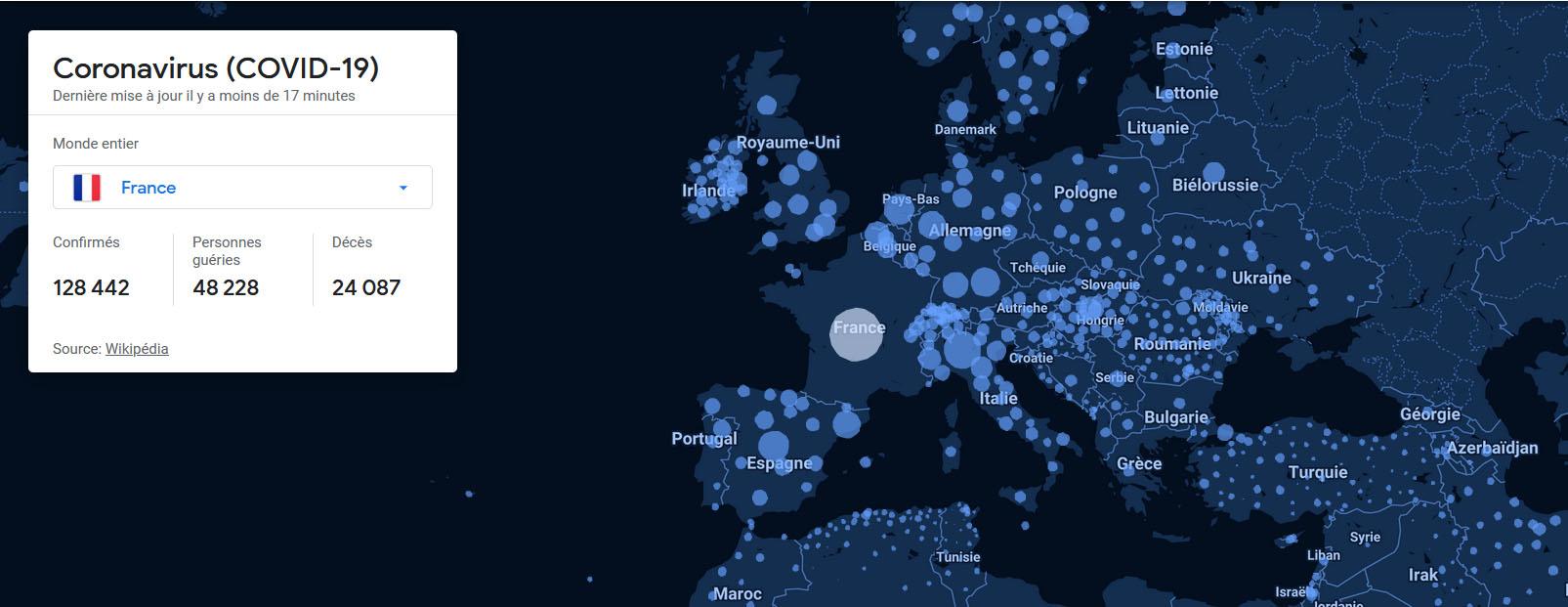 Carte interactive des données mondiales sur le coronavirus Covid-19