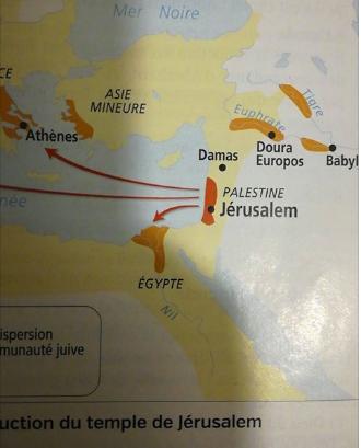 """Extrait du manuel d'histoire pour sixième aux éditions Nathan (2016), situant les Hébreux dans """"l'actuelle Palestine"""""""
