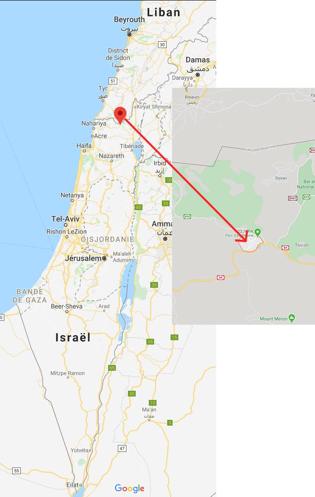 Plan Google map d'Israël avec localisation du kibboutz Sasa