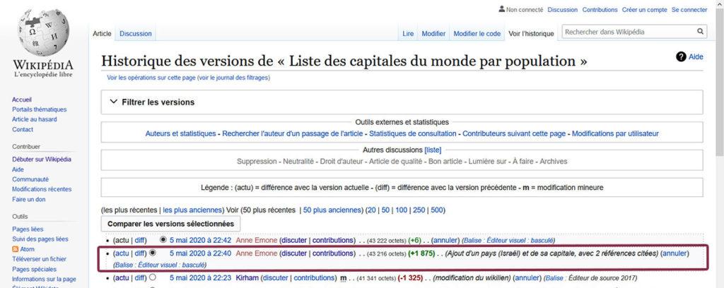"""Extrait de la fiche Wikipedia """"Liste des capitales par population"""". Ajout d'Israël le 5 mai 2020 (capture d'écran Wikipedia)."""