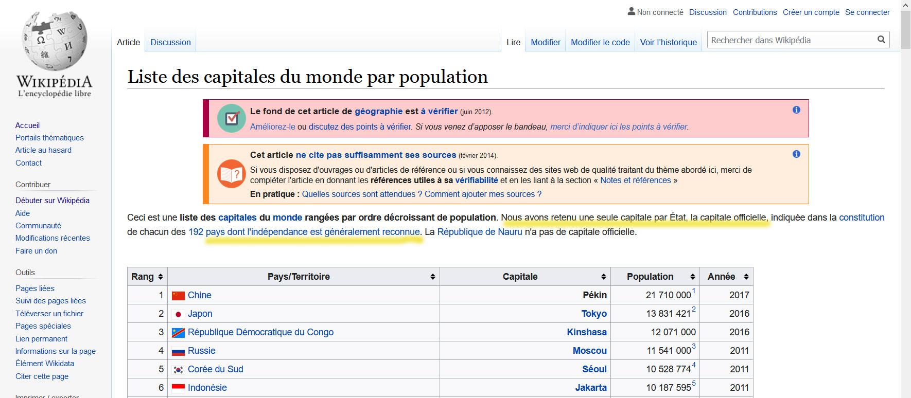 """Extrait de la fiche Wikipedia """"Liste des capitales par population"""". Introduction à la fiche (capture d'écran Wikipedia)."""