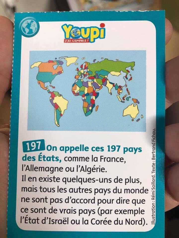 """Fiche du magazine Youpi pour enfants qualifiant Israël de """"pas vrai pays, décembre 2017 )"""