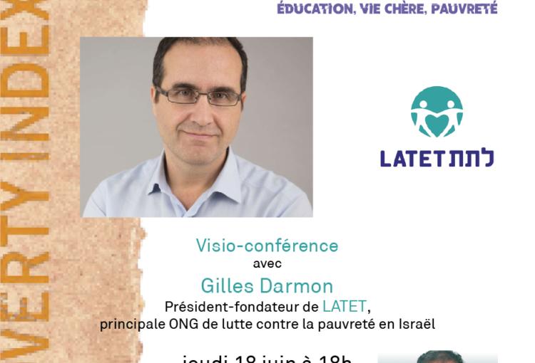 Flyer conférence de Gilles Darmon, président de l'ONG Latet, sur la pauvreté en Israël et les défis de la nouvelle coalition gouvernementale