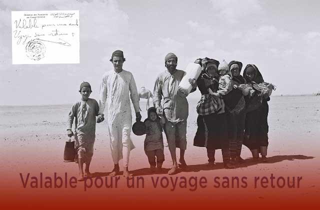 Une famille yéménite marchant à travers le désert pour rejoindre un camp de regroupement organisé par le Joint près d'Aden, photo : Kluger Zoltan – Archives photographiques nationales israéliennes