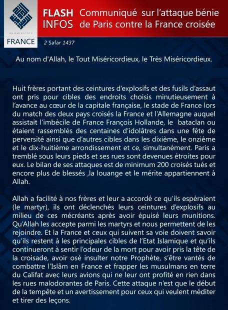 Communiqué de Daesh après les attentats de novembre 2015 en France