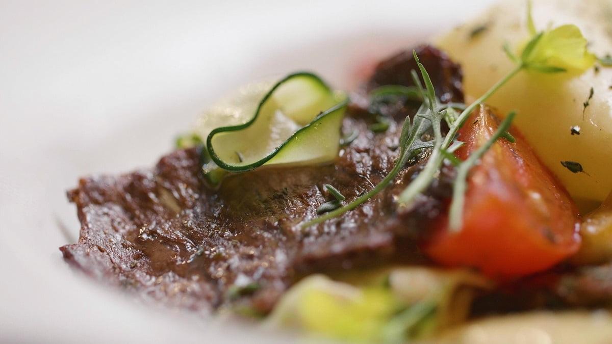 Un steak produit par la start-up Aleph Farms à partir de cellules bovines