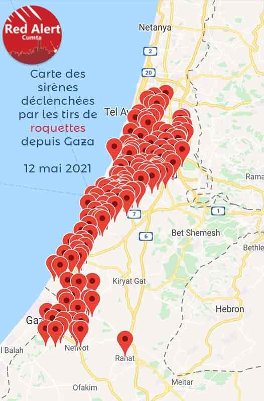 Carte d'Israël mentionnant les points où l'alerte rouge a sonné lors des bombardements, 12 mai 2021