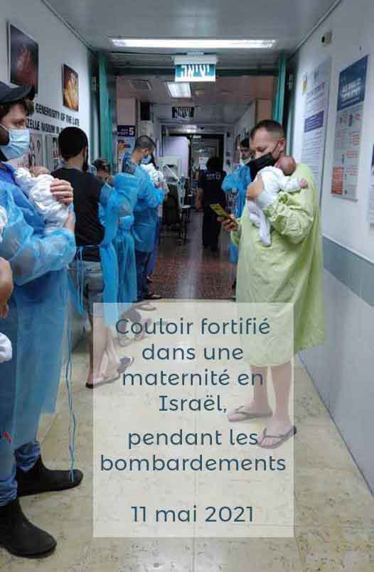 """Maternité dnas le centre d""""'Israël où les papas mettent à l'abri les nouveaux-nés lors des bombardements palestiniens, 11 mai 2021"""
