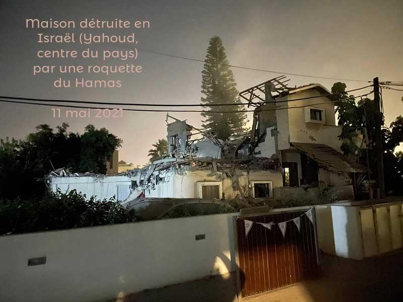 Maison détuite en Israël (Yehud) par un tir de roquette depuis la bande de Gaza, 11 mai 2021