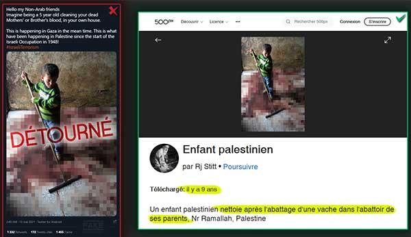 Fake news sur Israël, accusé d'avoir tué les parents d'un petit garçon qui nettoie les flaques de sang. Il nettoie en fait l'abattoir de ses parents, sans rapport avec un quelconque conflit.