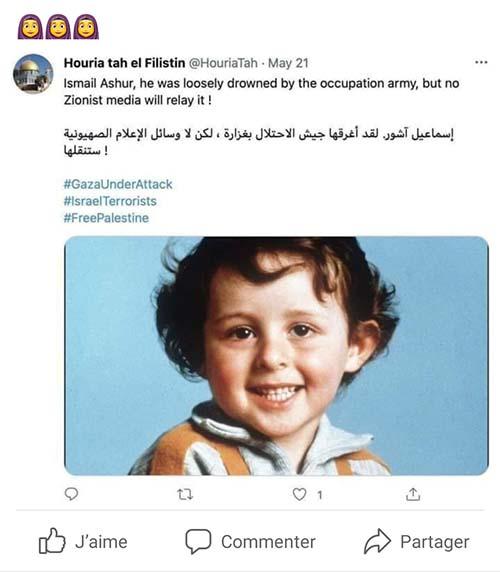 Le petit Grégory dont le visage est utilisé par la propagande pour accuser les Israéliens de tuer des enfants