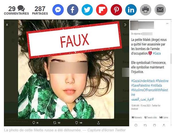 Capture d'écran Twitter montrant une soi-disant enfant palestinienne qui aurait été tuée par les Israéliens, alors qu'il s'agit d'une petite fille russe bien vivante (mai 2021)