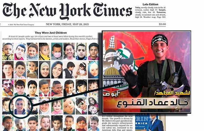 Khaled Imad Khaled al-Qanua, 17 ans, membre des brigades Mujahedin, affiliées au Jihad islamique. Il a été tué par des frappes israéliennes le 13 mai 2021 près de Beit Hanoun. C'était un combattant, pas un civil « innocent ».
